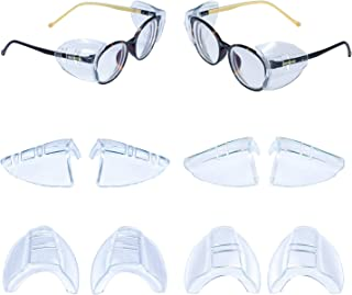 4 Pairs Safety Glasses Side Shields, Slip on Clear Side Shields, Flexible Safety Glasses with Side for Eye Protection, Fit...
