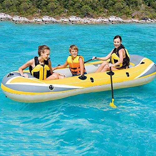3 Person Inflatable Boat Canoe 【Yellow+Gray】 7.5FT Raft Inflatable Kayak with Air Pump Rope Paddle,2or 3 Person Boat for Adults and Kids, Portable Fishing Boat,Water Sports Equipment, Max Load 375 lbs