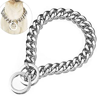 ZZOHAA Fully Welded Steel Pet Dog Collar Necklace,Heavy Duty Cuban Dog Chain for Large Dogs,Strong Stainless Steel Metal Links Slip Chain Collar (16inch, Silver)