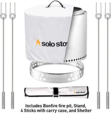 Solo Stove Bonfire Backyard Bundle - Bonfire Fire Pit with Stand, Roasting Sticks with Carry Case, and Waterproof Shelter