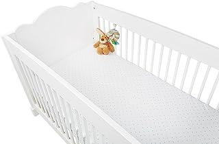 """Pinolino 540022-2D Spannbetttücher für Kinderbetten im Doppelpack """"Sternchen"""", Jersey, Uni, weiß/hellblau/blau"""