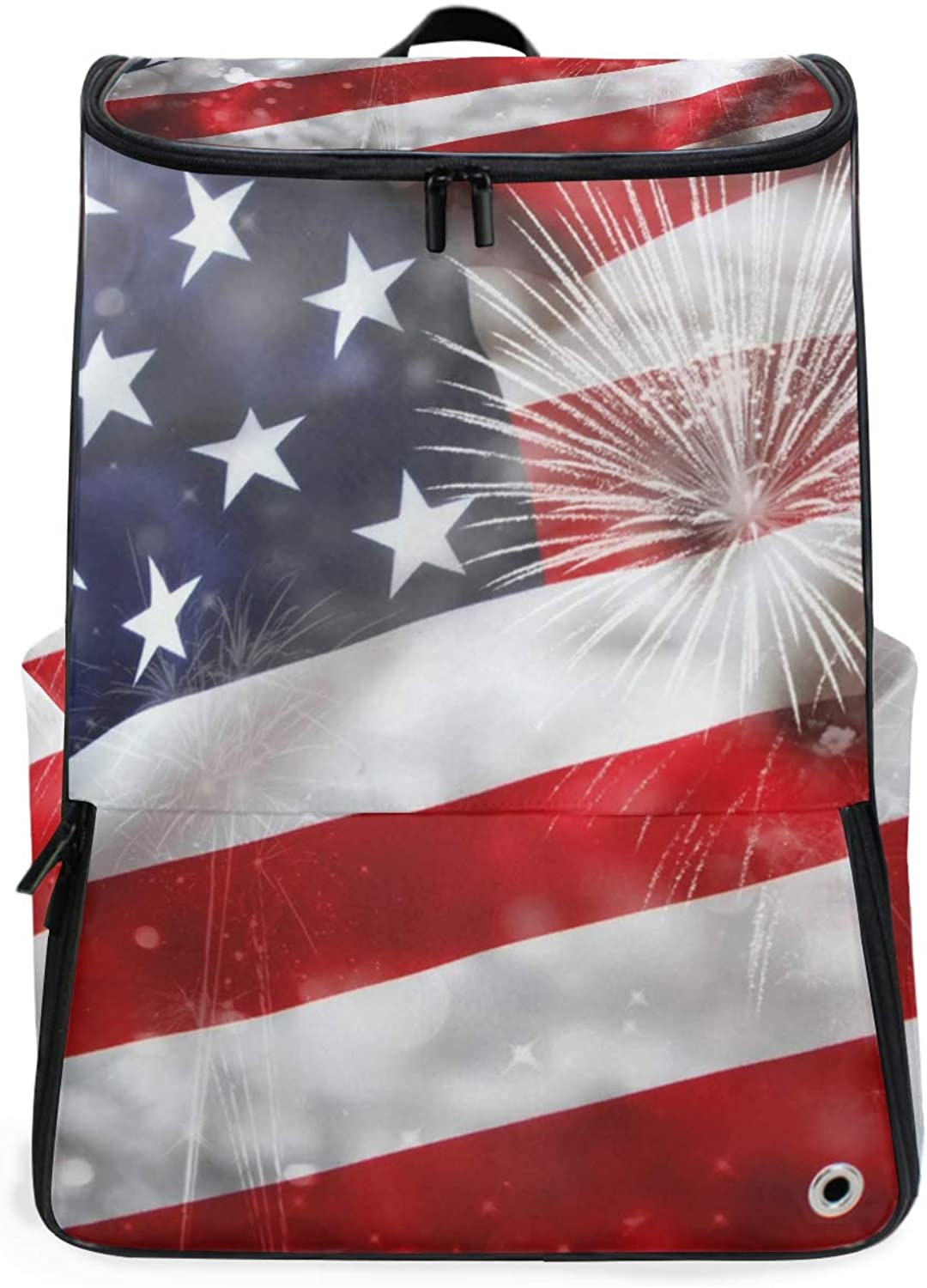 FANTAZIO America Flag with Firework Independence Day Professional Weekender CarryOn Backpack for Travel & Business