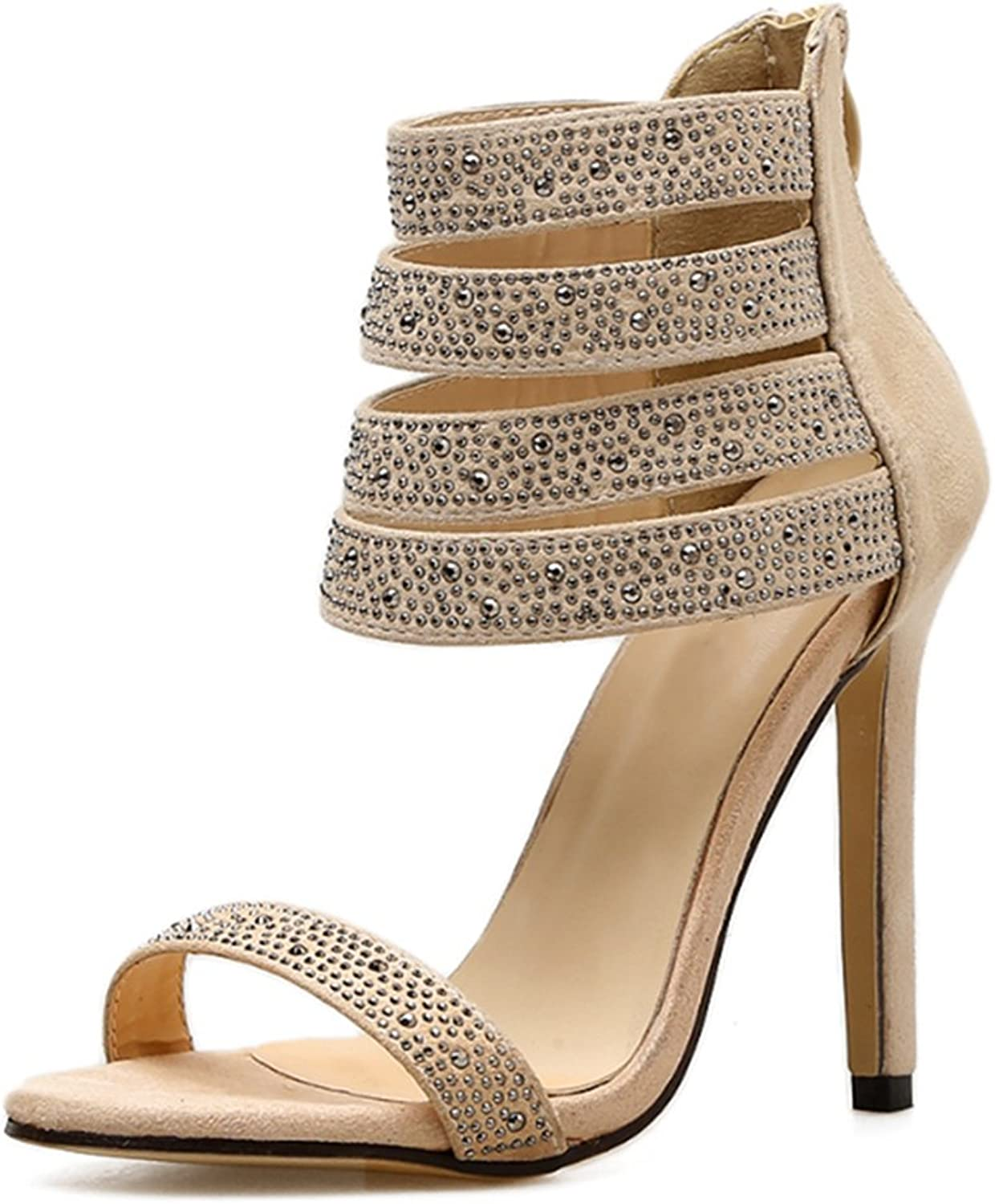 Womens Sandals Crystal High Heel Cut-Out Peep Toe Ankle Strap Party Dress shoes