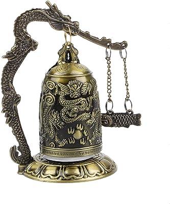 DMtse Vintage Style Bronze Lock Carved Dragon Tibet Buddhist Fish Bronze Good Luck Fish Geomantic for Meditation Altar Decoration