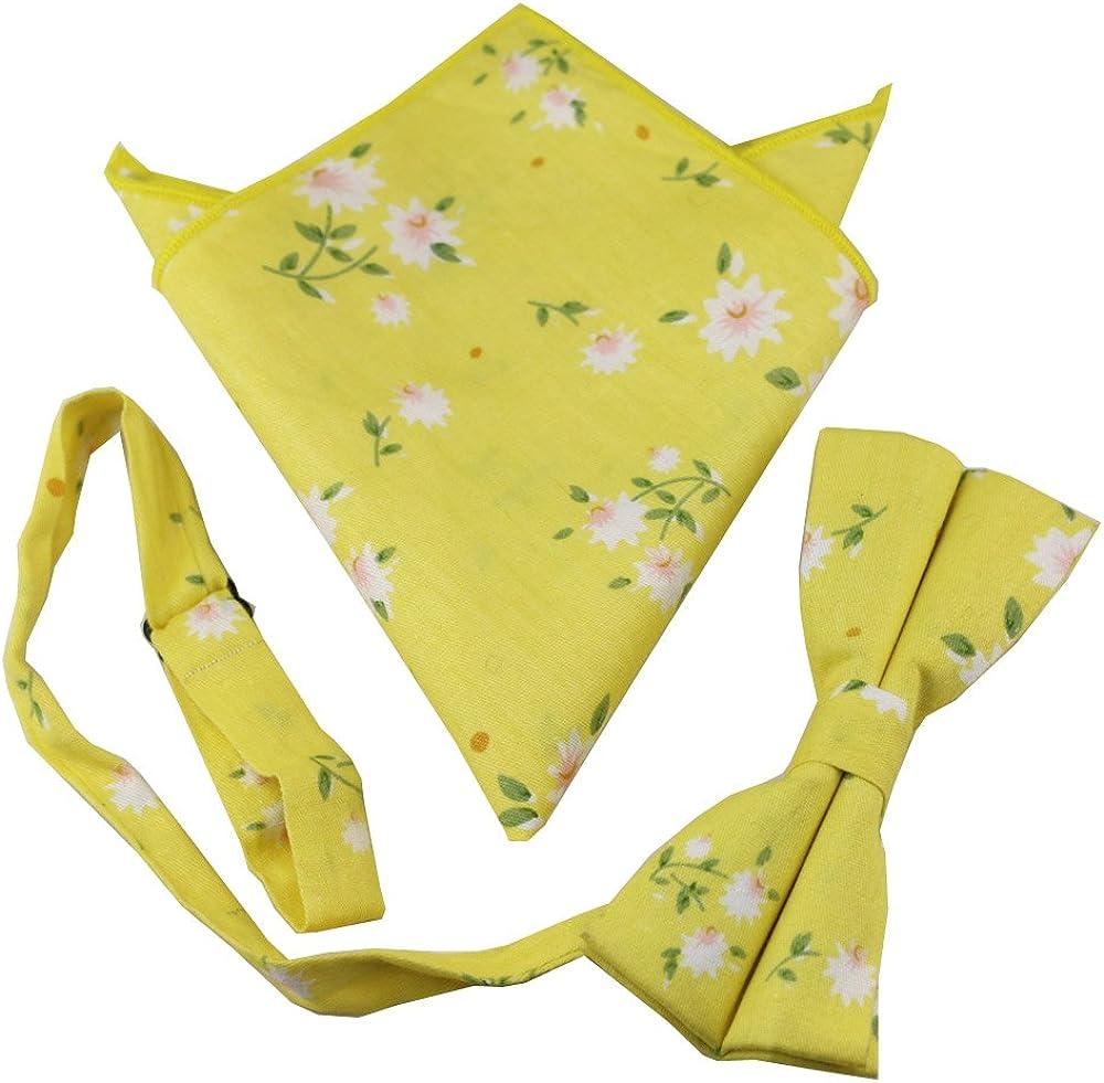 Coachella Ties Yellow Flowers Cotton Necktie Skinny Tie Pocket Square Bowtie