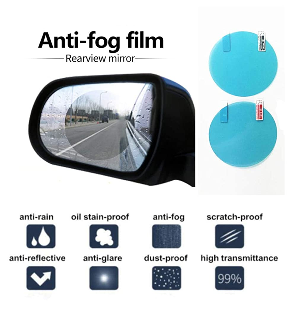YooZoo Car Rearview Side Mirror Protective Film High Transmittance Rainproof Shield Anti-Fog Anti-Glare Anti-Scratch Waterproof Membrane Car Bus Screen Window Mirror Protector Clear Nano Film (Round)