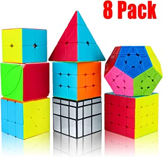 Aitey Speed Cube Set, Magic Cube Bundle 2x2 3x3 4x4 Pyramid Megaminx Mirror Ivy Windmill Stickerless Cube Puzzle Toys for Kids & Adults (8 Pack)