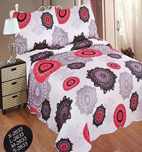 Forentex spreien 240 x 260 cm voor bed 150 cm Omkeerbaar gestikt patroon voor lente/zomer rood geen kussenslopen 50x70cm REF L-2633