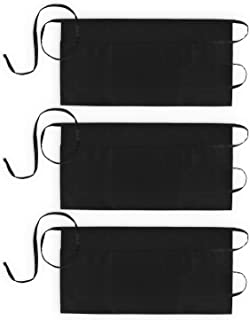Xornis 3 Pack Server Aprons with 3 Pockets Waiter Waitress Waist Apron Black Short Aprons Kitchen Restaurant Bistro Half Aprons for Men Women