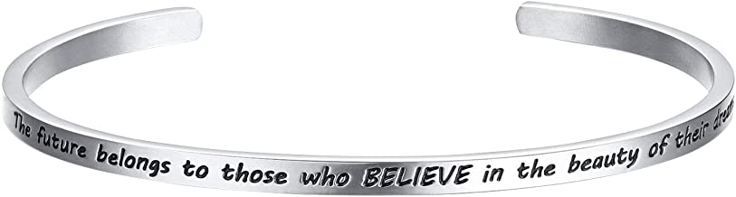 FANCYCD 'The Future Belongs to Those Who Believe in The Beauty of Their Dreams' Adjustable Cuff Bracelet Wristband Bangle