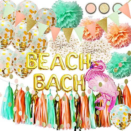 Qian's Party Bach Bachelorette Party Decorations Beach Bach Balloons MInt Peach Tissue Pom Pom Triangle Banner Tropical Summer Party Flamingo Party