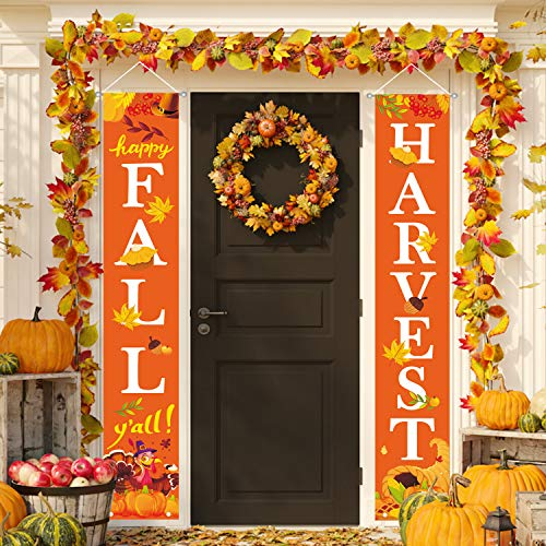 MAIAGO Thanksgiving Decorations - Happy Fall Y'all & Harvest Porch Sign - Fall Harvest Door Sign Turkey Pumpkins Maple Leaf Autumn Decor for Home Yard Indoor Outdoor Thanksgiving Party Decorations