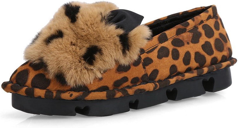AdeeSu Womens Pom-Poms Round-Toe No-Closure Suede Flats shoes