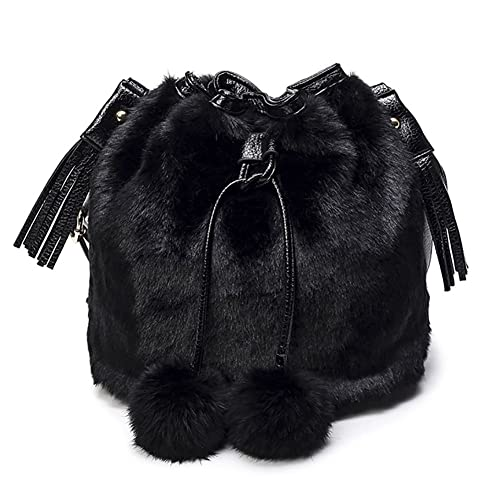 4b25bbc1fab0 Onfashion Women s Faux Fur Bucket Bag Drawstring Shoulder Bag Crossbody Bag  with Pompon