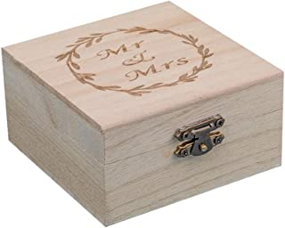 senover Wooden Mr Mrs Wedding Ring Box Wedding Ring Bearer Box Ring Bearer Pillow Shabby Chic Ring Box for Engagement Anniversary Valentine's Day Decorative Jewelry Box Favor Gift
