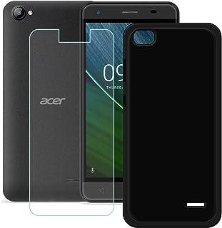 YZKJ skal för Acer Liquid Z6E Cover svart mjuk silikon skyddshölje TPU skal + pansarglas displayskyddsfolie för Acer Liqui...