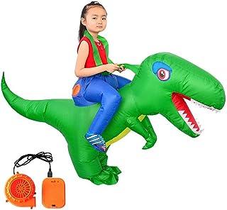 KERDEJAR Inflable Adultos Niños Montar Dinosaurio Disfraz Mascarada Cosplay Ropa de Vida Silvestre Fiesta Temática de Halloween Ropa de Juego de rol Accesorios para Rendimiento al Aire Libre