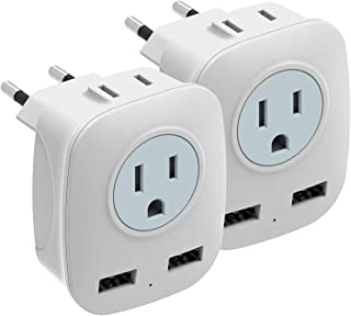 [2-Pack] European Travel Plug Adapter, HITRENDS International Power Plug Adapter with 2 USB Ports and 2 Outlets, 4 in 1 Outlet Adapter for USA to Most of Europe EU Spain Iceland Italy (Type C)