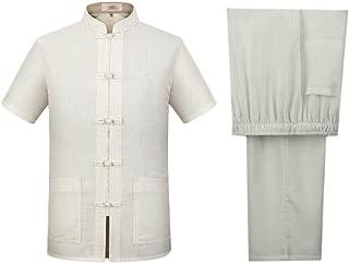 Men Martial Short Sleeve Tang Suit Linen Tai Chi Uniforms Kung Fu Jacket and Pant Set YDTZM0007