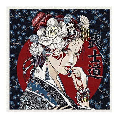 Stoff am Stück Stoff Kissen Panel Polyester Baumwolle Gobelin dunkelblau Geisha 50 x 50 cm