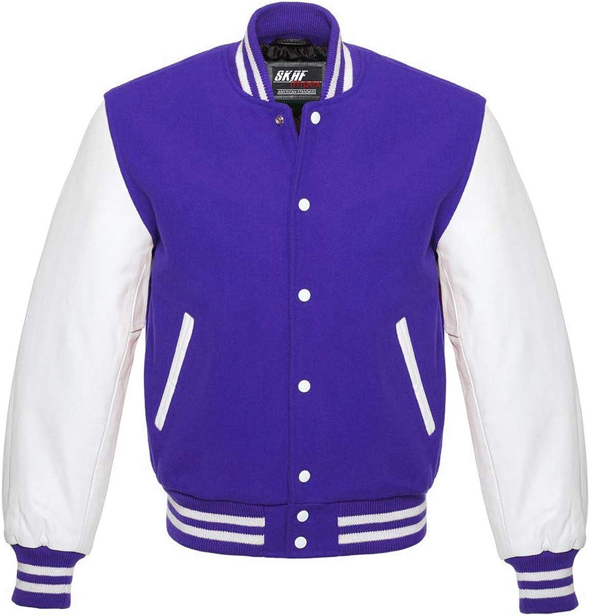 Skaf Impex Men's Letterman Baseball Max 53% OFF Jacket Varsity Leather Over item handling White