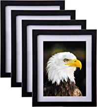 Solid Wood Picture Frames 8x10 - Hang on Wall Stand Hook Accessory Fashion Wooden Frame Stand Pictures Photos Landscape Family Portrait 8x10 Picture Frame without Mat/ 6x8 Frame with Mat 4 pack Black