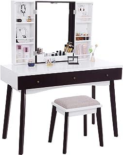 BEWISHOME Vanity Set with Mirror, Cushioned Stool, Storage Shelves, Makeup Organizer, 3 Drawers White Makeup Vanity Desk D...