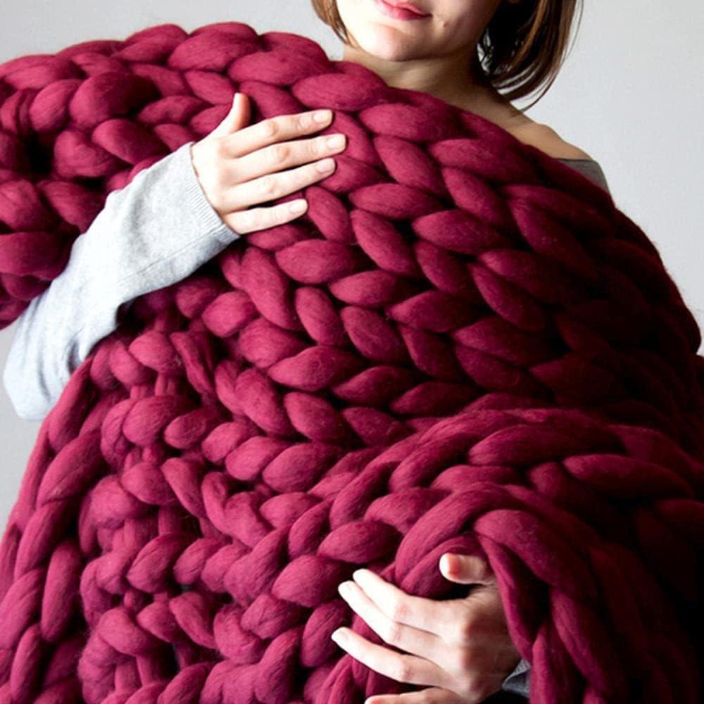 Venta Poliéster Moda Gruesa de Lana Gruesa Manta Tejida a Mano Sofá de Punto Manta de Cubierta cálida-Rojo Vino, 50x50 cm, China