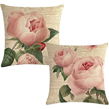 7COLORROOM Decorative Romantic Rose Flower Pillow Cover Vintage Shabby Chic Peach Pink Rose Floral Cushion Cover Square Cotton Linen Pillowcase for Sofa Bedroom Car 18x18 Inch Set of 2 (Pink Rose)