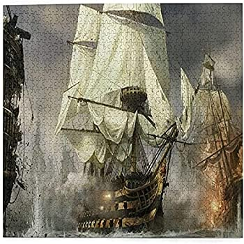 Epushow Cool Pirate Ship Printed Wooden Jigsaw Puzzle Adult Youth Jigsaw Puzzle 1000 Pieces Hand Fun Game