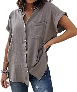 Suncolor8 Womens Cuffed Sleeve Button Down Solid Color Plus Size Tops Blouse Shirt
