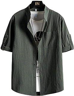 2021 Nueva Camisa de la Primavera de China Estilo de la Manga Corta de los Hombres Ajuste Delgado de Lino Solid Casual Med...