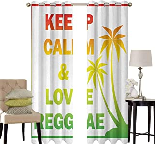 hengshu Rasta Bedroom Curtains Blackout Shades Keep Calm and Love Reggae Quote in Ombre Rainbow Colors Music Themed Darkening Drapes for Bedroom W52 x L95 Inch Pale Green Red and Yellow