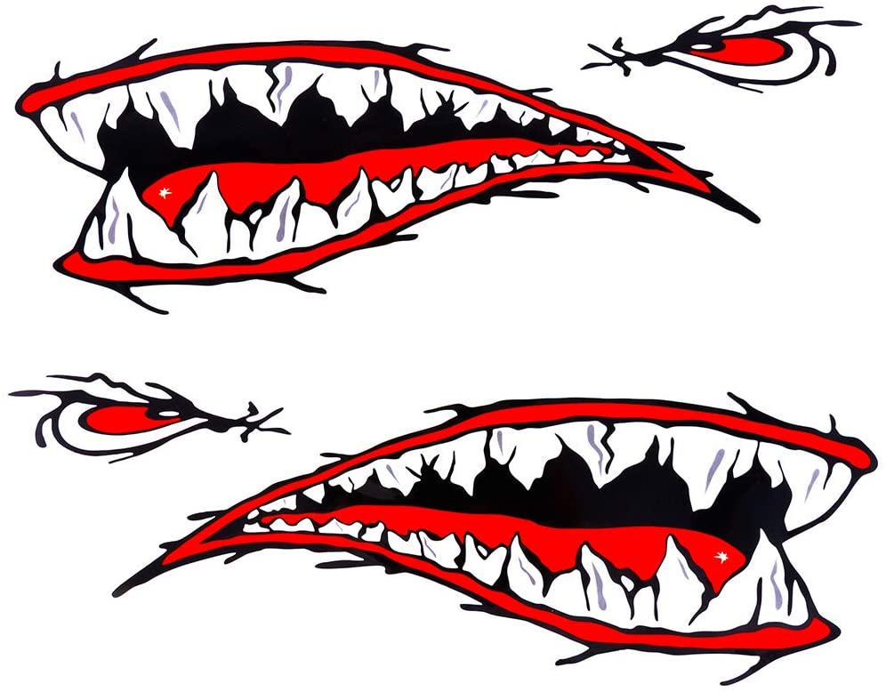 MOOCY 2Pcs Shark Teeth Fort Worth Mall Mouth Decals Sticker Reflective Cash special price Waterproo