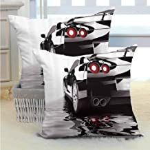 SEMZUXCVO Cars Polyester Pillowcase Modern Black Car with Water Reflection Prestige Fast Engine Performance Lifestyle Anti-Fading W20 x L20 inch Black Red White