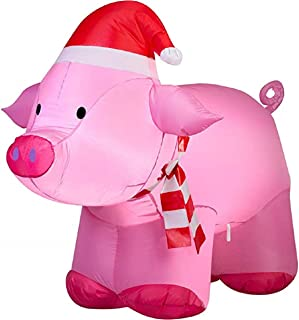 ghi Christmas Inflatable 3.5L Pig with Santa Hat Airblown Decoration