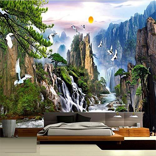 Eigen 4D muurschildering groot wallpaper, Chinese stijl landschap zonsopgang bergen watervallen rood bekroonde kran, moderne Hd zijde muurschildering poster afbeelding tv sofa achtergrond muur decoratie 140cm(W)×70.5cm(H)|4.59×2.29 ft