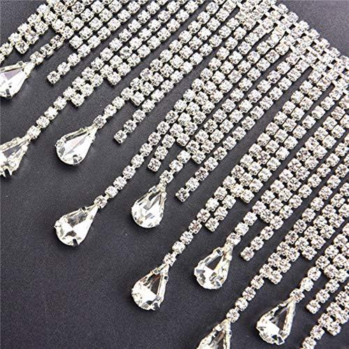 MFKW 50 cm / stuk mooie lange kwasten kristal kleur zilver ketting huwelijk gordijn decoratie kostuum applicatie genaaid