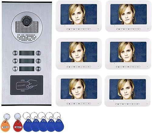 Precio al por mayor y calidad confiable. TQ Apartamento Familia Video Portero telefónico Sistema de intercomunicador RFID RFID RFID IR-Cut HD 1000TVL cámara Timbre cámara con 6 botón 6 Monitor Impermeable  promociones de descuento