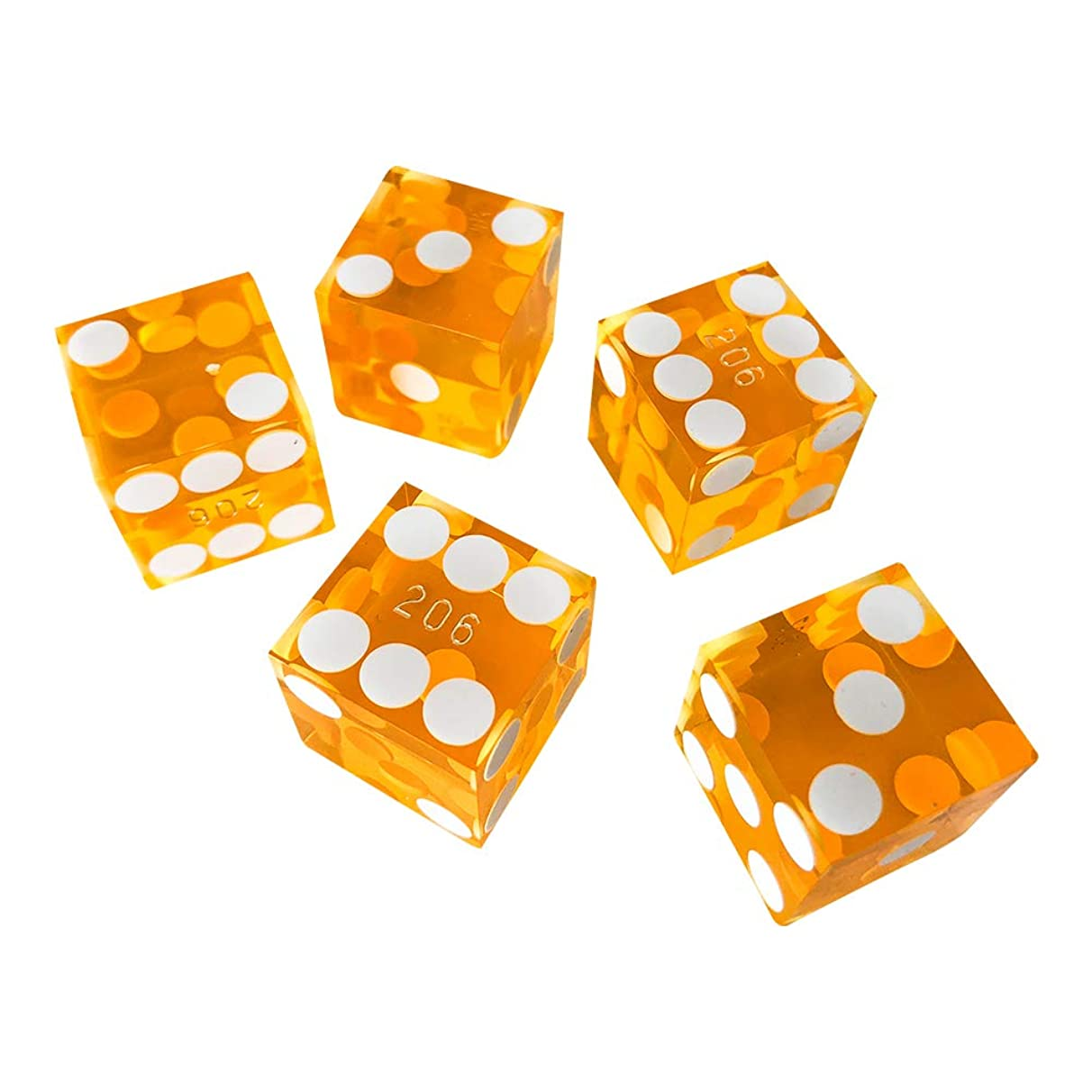 YH Poker Set of 5 Precision 19mm Serialized Casino dice with Razor Edges and Corners (Yellow) ?-