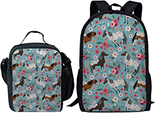 Dellukee School Backpack And Lunch Bag Set Cute Durable Daypack Horse Flower Print