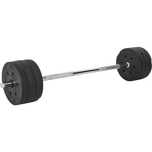Gorilla Sports Set avec disques revêtement Plastique + Barre 120cm 37 kg