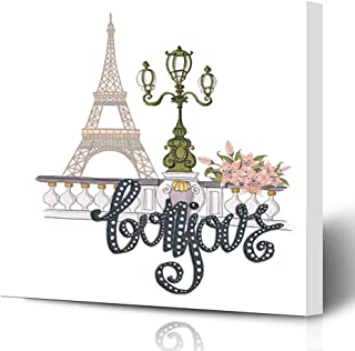 Ahawoso Canvas Prints Wall Art Printing 8x8 Colorful Beautiful Bonjour Lettering Hand Flowers French Paris Pink Beauty City Country Drawing Painting Artwork Home Living Room Office Bedroom Dorm