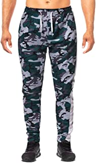 Men's Camo Joggers Sweatpants Military Tracksuit Bottoms with Elastic Waist, Pocket, Drawstring Slim Fit