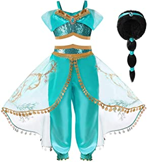 Hamanasu Costume de la Princesse Jasmine pour Les Filles Déguisement de Princesse pour la fête d'anniversaire Jeu de rôle(...