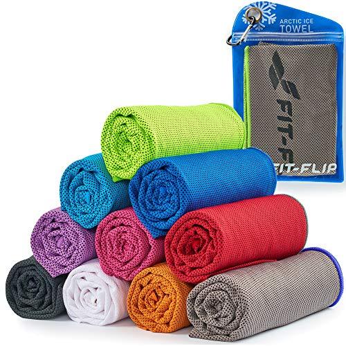 Fit-Flip Cooling Towel para Deporte y Gimnasio – Toallas de Microfibra/Toalla fría como Toalla refrigeración para Correr, Viajar y Yoga – Cooling Towel – Color: Gris - Verde neón, tamaño: 100x30cm