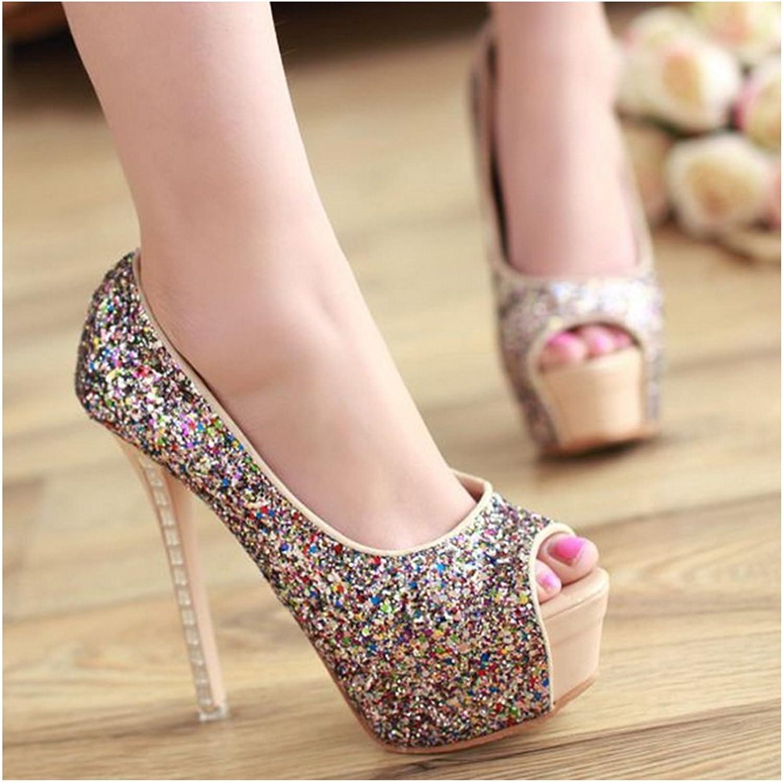 Rhinestone Thin High Heel Peep-toe Thick Sole Platform Paillette Women Thin shoes beige