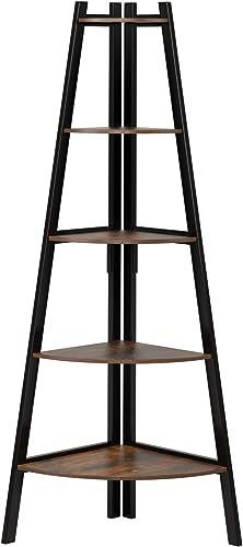 Homfa Industrial Corner Ladder Shelf, 5 Tier Bookcase A-Shaped Utility Display Organizer Plant Flower Stand Storage R...