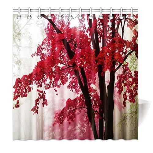 Violetpos Top Qualität Anti-Schimmel Duschvorhang Digitaldruck für Badezimmer Badvorhänge Rotes Ahornblatt Baum Nebel 180 x 180 cm