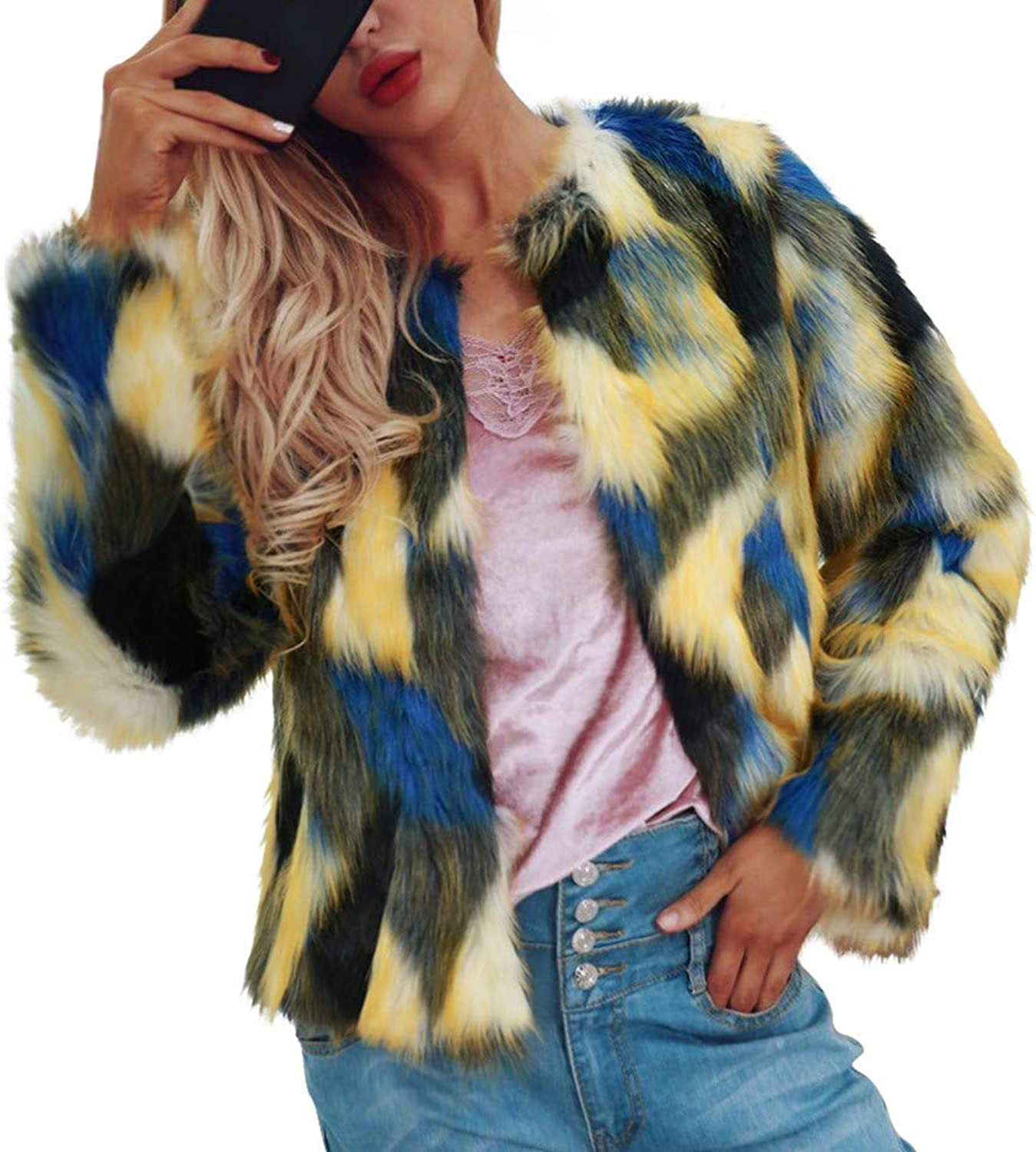 Ladies Coat Ladies Warm Faux Fur Coat Jacket Winter Gradient color Parka Outerwear Patchwork Pattern Casual Fashion Overcoat Long Sleeve Hipster Coat (color   Mehrfarbig, Size   3XL)
